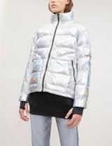 49 WINTERS The Kensington hooded metallic shell-down jacket in moon stone. LUXE PADDED JACKET