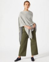JIGSAW WOOL CASHMERE BLEND LONG PONCHO Pale-Grey / luxury style knitted outerwear / stylish Autumn cover-up