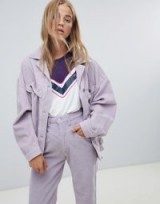 Wrangler oversized trucker jacket in cord in Lavender frost – lilac corduroy