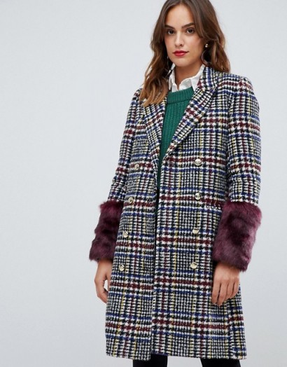 Y.A.S heritage fur trimmed coat / checks & fluffy cuffs