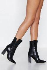 NASTY GAL You Got a Point Croc Boot in black – pointed toe square block heel boots