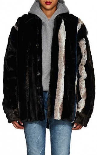 Y/PROJECT Striped Faux-Fur Jacket ~ luxe winter coat