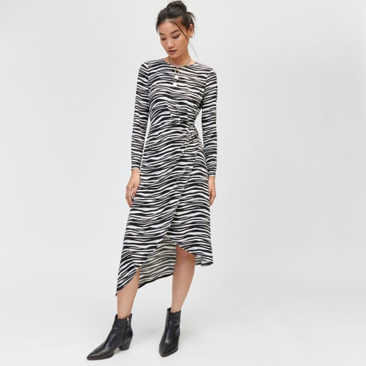 WAREHOUSE ZEBRA O-RING SLINKY DRESS in Black Pattern / monochrome animal print