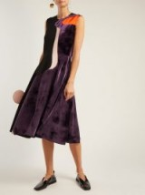 ROKSANDA Abstract purple velvet-panel cady dress ~ luxe sleeveless fit and flare