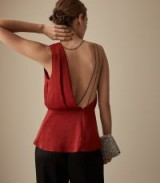 REISS ADALEE STRAPPY BACK TOP RED ~ glamorous open back detail