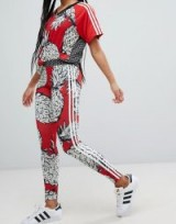 adidas Originals X Farm Three Stripe Leggings In Pineapple Print | red fruit printed sports pants