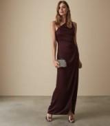 REISS AERIN CROSS STRAP DETAIL MAXI DRESS DEEP BERRY ~ dark-red event gown