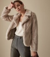 REISS AILA FAUX FUR JACKET NEUTRAL ~ a touch of luxe