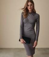 Reiss ALETHIA METALLIC TWIST NECK KNITTED DRESS GREY | chic knitwear