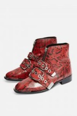 Topshop ALEX Front Zip Ankle Boots in Red   snake prints