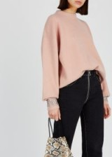 ALEXANDER WANG Blush embellished wool-blend jumper – luxury pale-pink crystal cuff sweater