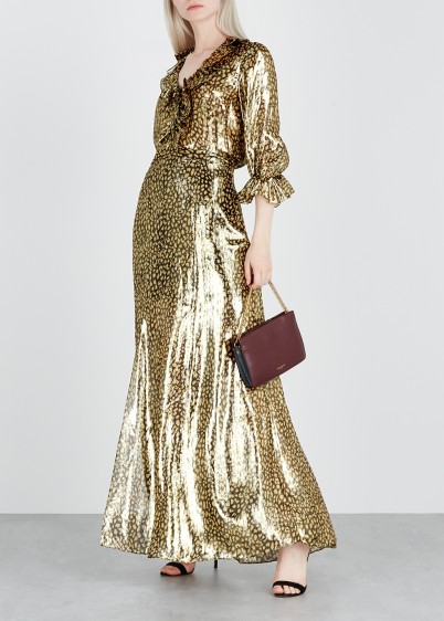 ALICE + OLIVIA Athena leopard-print silk-blend maxi skirt   glamorous metallic skirts