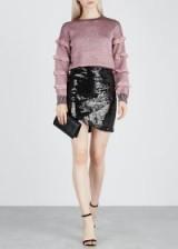ALICE + OLIVIA Fidela sequinned mini skirt in black | sparkly party wear
