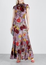ALICE + OLIVIA Roanne lilac floral devoré chiffon dress