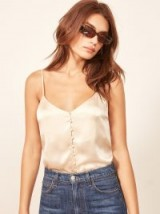 Reformation Alice Top in Almond | luxe silk cami