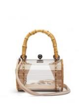 WAI WAI Alix Crystal Bamboo transparent box bag ~ clear shoulder bags