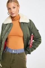 Alpha Industries Injector III Sage Green Jacket – fur collar flight jacket