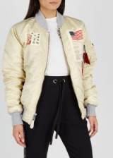 ALPHA INDUSTRIES MA-1 D-Tec Blood Chit bomber jacket in stone – patch appliques