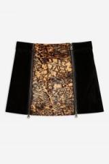 Topshop Animal Leather Mini Skirt in Black