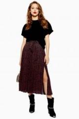 Topshop Animal Spot Pleat Midi Skirt in Black