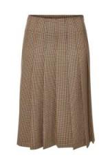 A.P.C. Nina Brown Gingham Pleated Midi Skirt