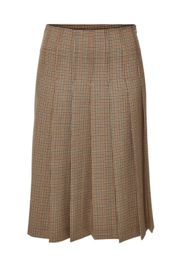 A.P.C. Nina Brown Gingham Pleated Midi Skirt