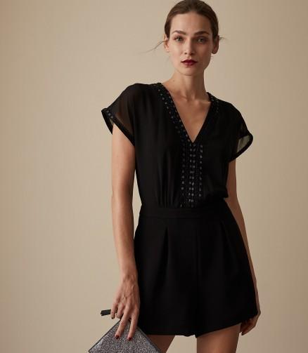 REISS ARLO EMBELLISHED PLAYSUIT BLACK ~ glamorous evening wear