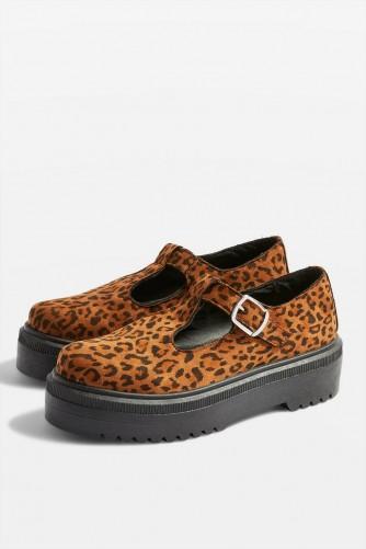 TOPSHOP ARNIE Chunky Shoes in True Leopard – brown animal print flatforms