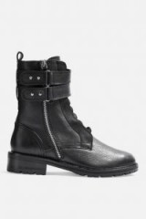 TOPSHOP ASHLEY Lace Up Hiker Boots in Black – double strap side zip boot