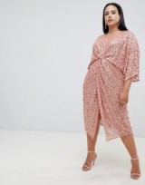 ASOS DESIGN Curve scatter sequin knot front kimono midi dress in dusty pink | sparkly gathered party dress