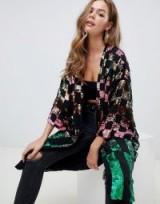 ASOS DESIGN checkerboard sequin kimono – multicolured sequined jackets