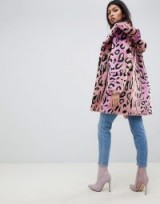ASOS DESIGN faux fur coat in bright animal in multi – hooded winter jacket