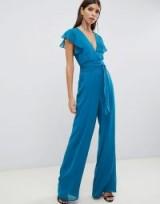 ASOS DESIGN flutter sleeve jumpsuit in Teal | blue party fashion