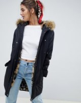 ASOS DESIGN parka with leopard faux fur lining in black