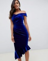 ASOS DESIGN structured velvet midi bodycon dress in cobalt – blue bardot party dresses