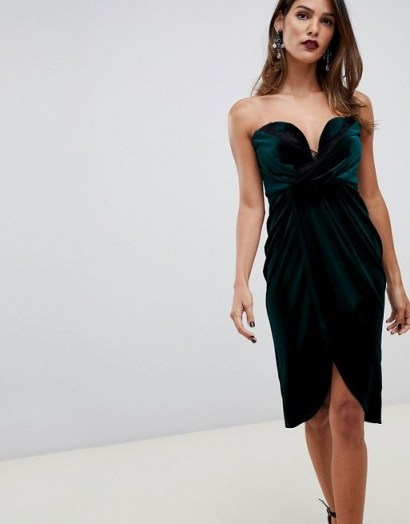 ASOS DESIGN velvet wrap bandeau dress with lace trim in green – strapless gathered party dresses - flipped