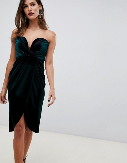 ASOS DESIGN velvet wrap bandeau dress with lace trim in green – strapless gathered party dresses