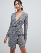 ASOS DESIGN wrap front mini dress in scatter sequin with open back in gunmetal – glittering party dresses