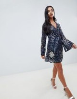 ASOS DESIGN Petite Embellished Sequin Star Mini Dress in Navy – blue sparkly party dresses