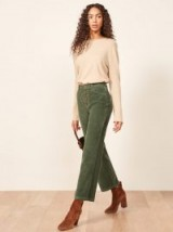 Reformation Austin Pant Sage – cropped green corduroy trousers