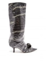 MIDNIGHT Bead-embellished black velvet and PVC boots