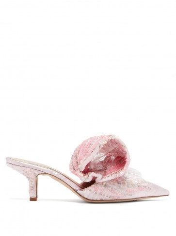 MIDNIGHT 00 Bead-embellished pink velvet and PVC mules
