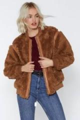 NASTY GAL Bear Hugs Only Bomber Jacket in Camel – brown faux fur