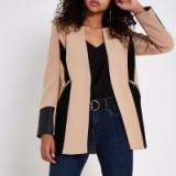 River Island Beige contrast panel blazer – colour block jacket