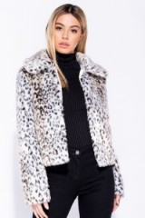 Parisian BEIGE LEOPARD PRINT OVERSIZED COLLAR FAUX FUR JACKET – glam animal prints