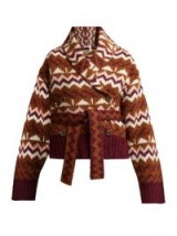SEE BY CHLOÉ Belted Fair Isle cardigan ~ brown patterned cardi