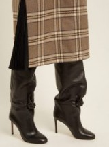 SAMUELE FAILLI Betsy knee-high black leather boots ~ slouchy knot detail boot