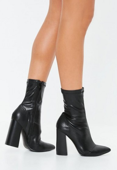 MISSGUIDED black block heel faux leather boots