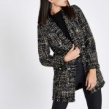 River Island Black check boucle coat – modern tweed coats