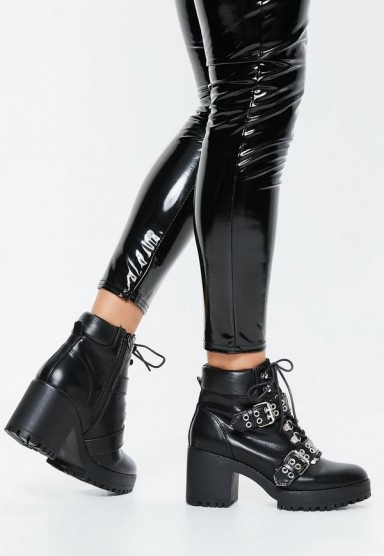 MISSGUIDED black chunky sole double strap biker boots